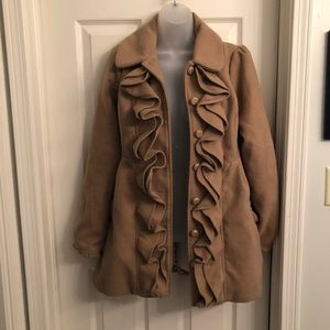 Adorable Jolt Fleece Ruffle Peacoat